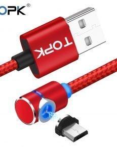 TOPK L Line1 1M 2M LED Magnetic Micro USB Cable Angle 90 Degree L Shape Nylon 231x291 - 360-Degree Magnetic Phone Charger - MillennialShoppe.com | for Millennials
