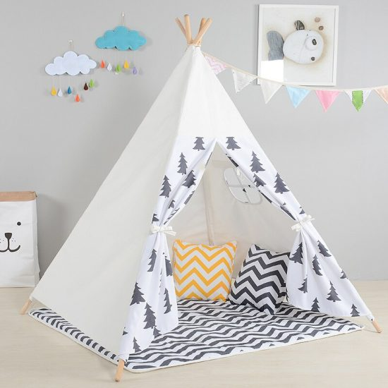 Children Tent Toy For Kids Room Canvas Indian Tipi Tent For Indoor Outdoor Baby Play House 2 550x550 - Children Tent Indian Style - MillennialShoppe.com   for Millennials